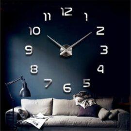 3D zidni sat 1 srebrni 50-70cm