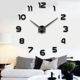 3D zidni sat 1 crni, 80-120 cm