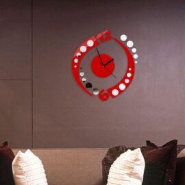 Zidni sat krug crveni 2