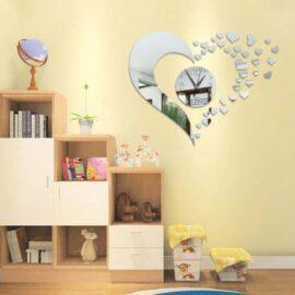 Zidni sat srce srebrni, efekt ogledala