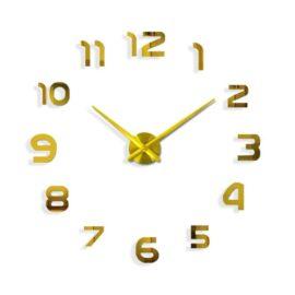 3D zidni sat 1, zlatni, 80-120 cm