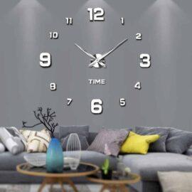 3D zidni sat 2 srebrni 80-120cm
