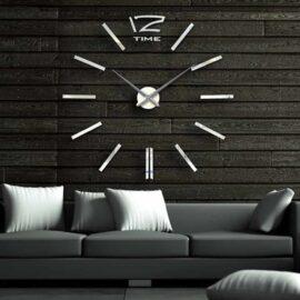 3D zidni sat 5 srebrni 80-120cm