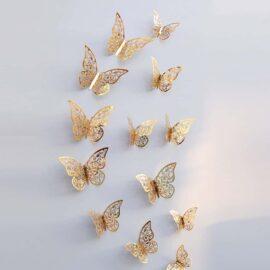3D leptiri zlatni