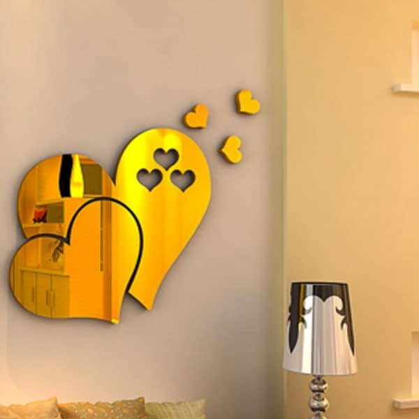 luma shop naljepnica 3d akril srce efekt ogledala zlatno