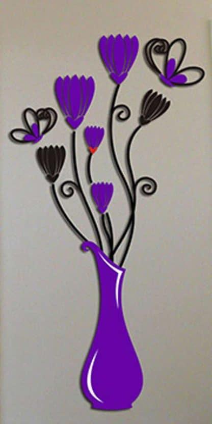 luma shop naljepnica 3d akril vaza sa cvijećem