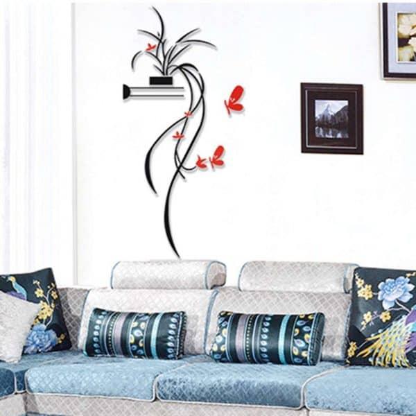 luma shop naljepnica 3d akril cvijet za policu crveni