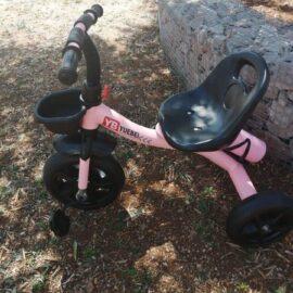 Tricikl dječji rozi sa košarom i bocom