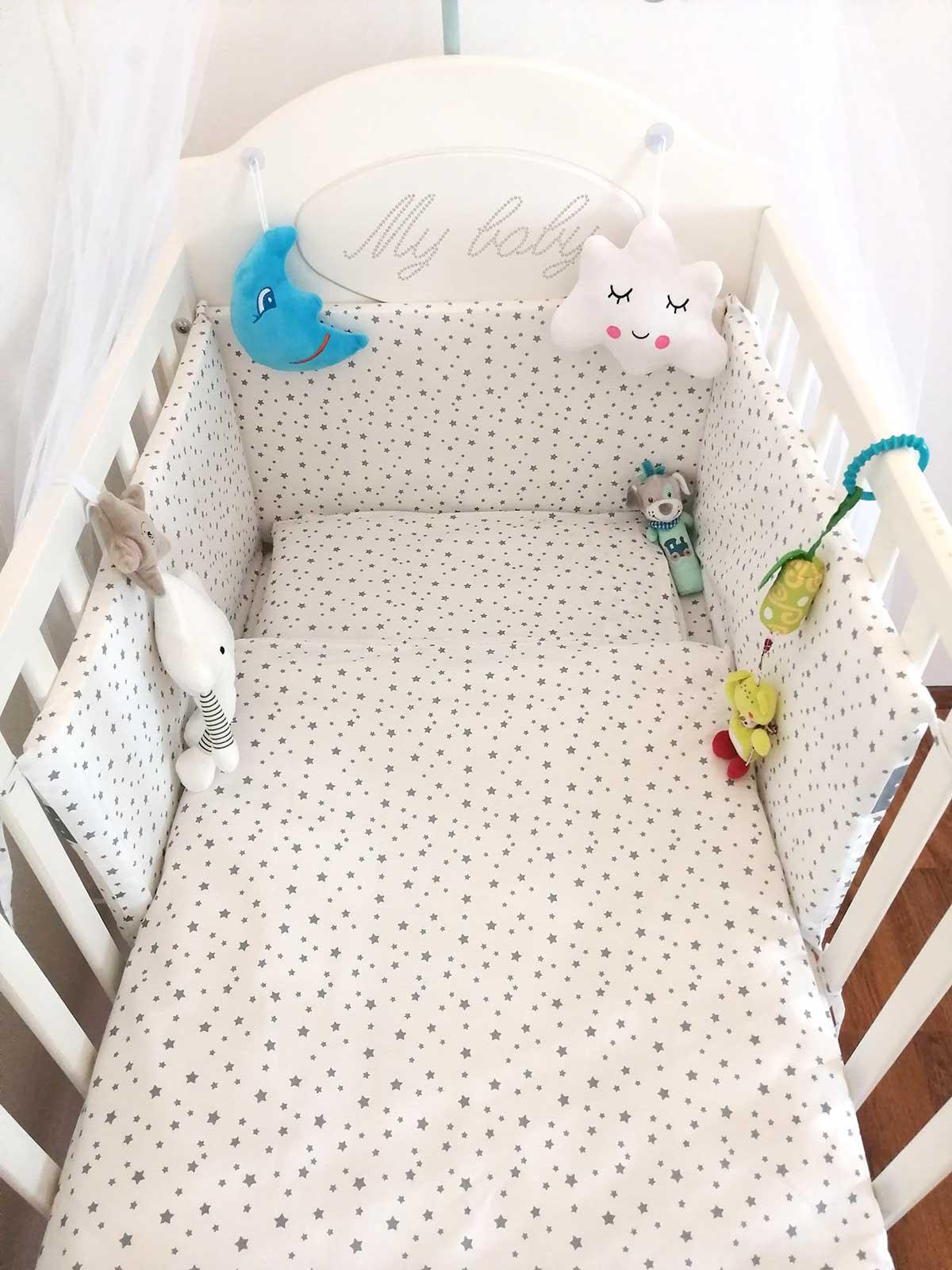 Dječja baby posteljina, plahta, ogradica, set, baldahin, jastuk Luma shop